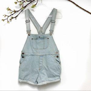 Brandy Melville jeans overalls shorts light wash